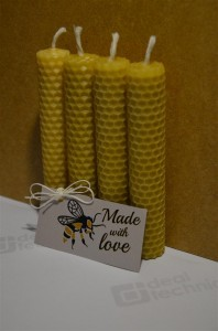 4 Hand-Rolled Handmade Pure Beeswax Rolled Candle 13 cm x 2.2 cm (5.2in x 0.88in) Made With Love