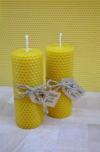 2 Pure Beeswax Candles from Beeswax Sheets 13cm x 4.5cm Perfect Christmas Gift